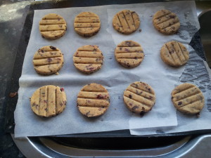 My cranberry dark chocolate shortbread cookies.  I'll post a recipe for these around Christmas.