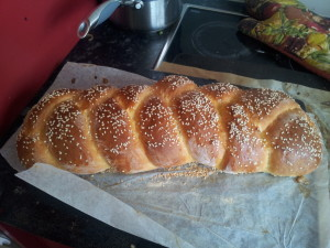 My challah bread out of the oven.  Prettiest thing I've made today.