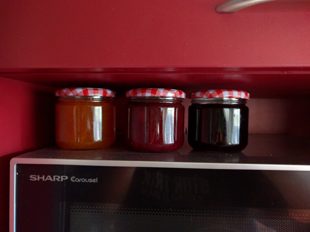 Apricot Jam, Spiced Cherry Chutney, and Cherry Jelly.