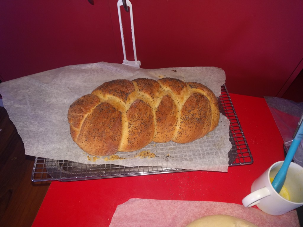 Challah bread ready for the show. The sourdough turned out flat and hard and for some reason I forgot to take pictures of the cookies.